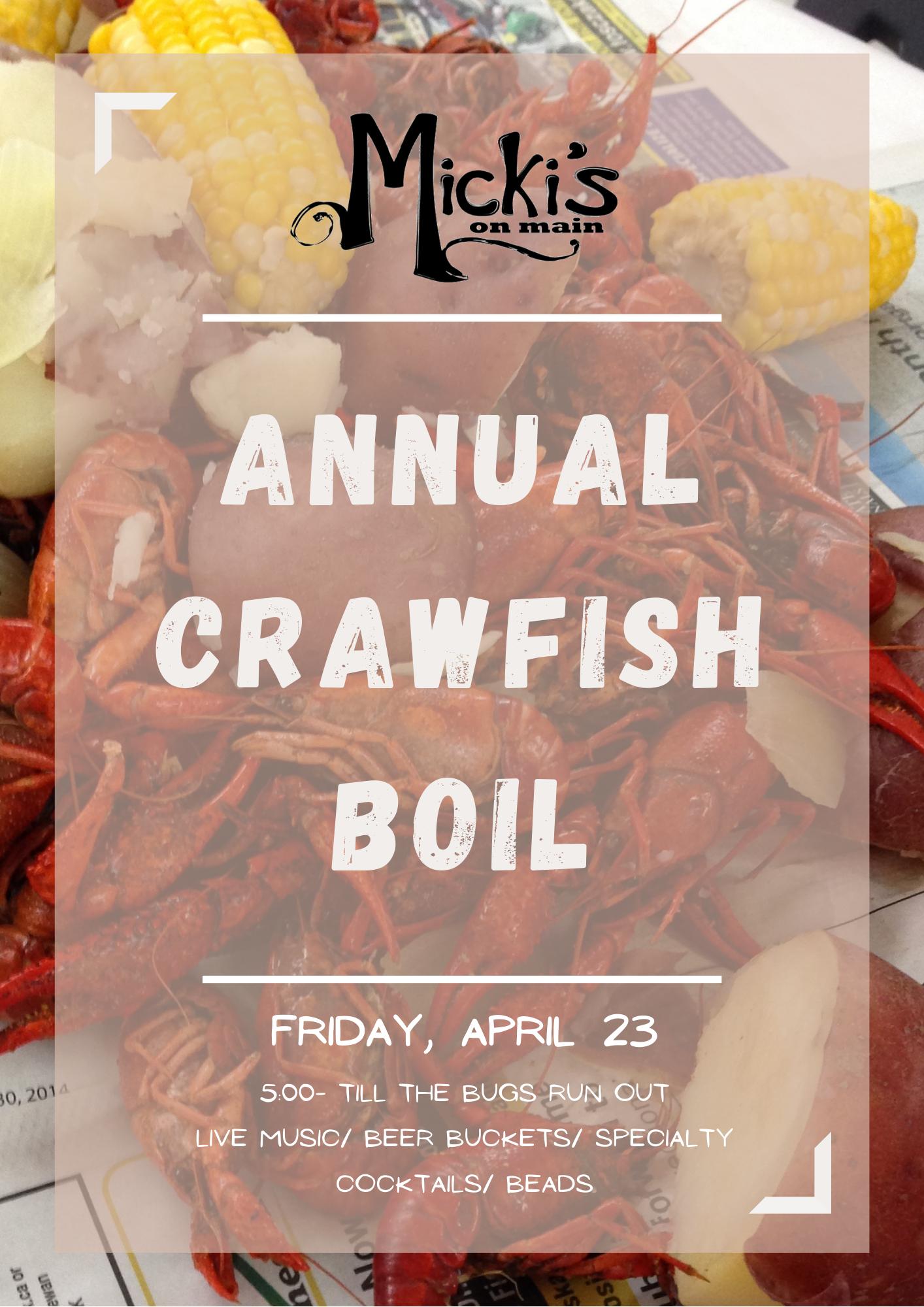 Annual Crawfish Boil April 23